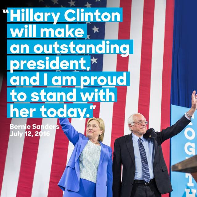 Senator Sanders endorses Hillary Clinton